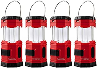 TANSOREN 4 Pack Portable LED Camping Lantern Solar USB Rechargeable or 3 AA Power Supply, Built-in Power Bank Compati Android Charge, Waterproof Collapsible Emergency LED Light with S