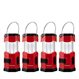 TANSOREN 4 Pack Portable LED Camping Lantern Solar USB Rechargeable or 3 AA Power Supply, Built-in Power Bank Compati Android Charge, Waterproof Collapsible Emergency LED Light with S' Hook