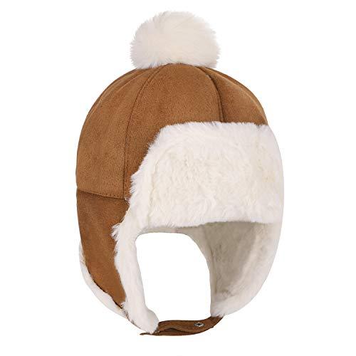 Kinder Baby Winter Fliegermütze Trappermütze Winddicht Warm Wintermütze mit Ohrenklappen Mädchen Jungen Schirmmütze Pilotenmütze Warm Cartonn Earflap Hut mit Bindebändern 6-24 Monate