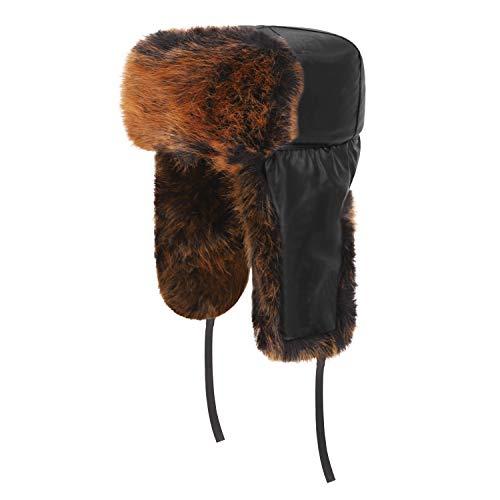 Windproof PU Leather Thermal Faux Fur Ushanka Russian Hat Old Men Women Winter Warm Full Hood Earflap Hat Cycling Motorcycle Snowmobile Ski Hunting Trapper Hats, Xmas Gift Deep Brown