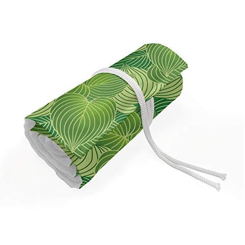 ABAKUHAUS Groen Etui met Rolomslag voor Pennen, Abstract Hosta Planten, Duurzame & Draagbare Potloodetui, 36 Vakjes, Fern Lime en lichtgroen