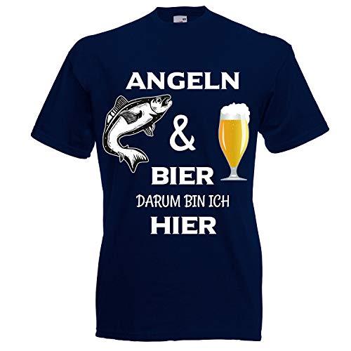 Shirt-Panda Herren T-Shirt · Angeln und Bier darum Bin ich Hier · Sport Angler Fun Unisex Fischer Männer Rundhals Angelshirt Fisch Shirt Brustdruck Motiv · Navy 4XL