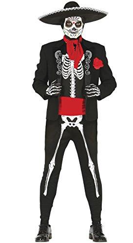 Guirca- Disfraz adulto skeleton mejicano, Talla 52-54 (84297.0)