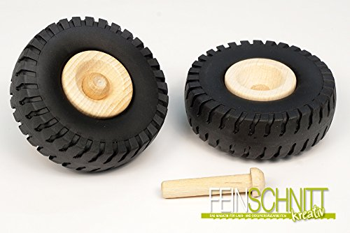 FEINSCHNITTkreativ LKW-Reifen für Modellbau 2 Stück (72 mm inkl. Achsdübel 8 x 41 mm)