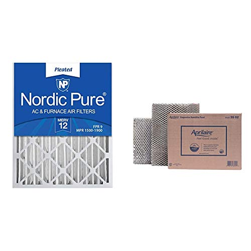 Nordic Pure 16x25x4 MERV 12 Pleated AC Furnace Air Filters 2 Pack & Aprilaire 35 Replacement Water Panel for Aprilaire Whole House Humidifier Models 350, 360, 560 (Pack of 2)