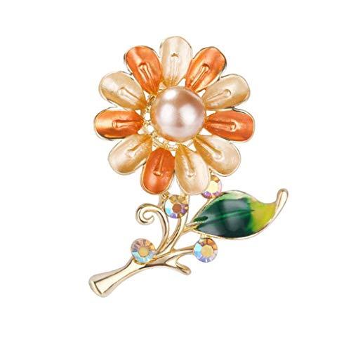 KLHHG Broche de Flor de Cristal Gota de la Perla, Las señoras de la aleación de la Broche de Vestido Elegante de la decoración del Bolso de Accesorios Pin