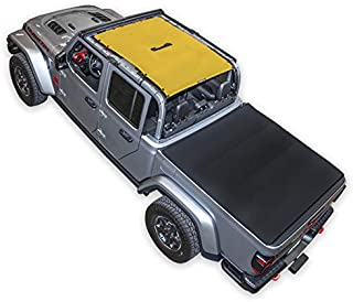 SPIDERWEBSHADE Jeep Gladiator Mesh Shade Top Sunshade UV Protection Accessory USA Made with 10 Year Warranty for Your JT 4-Door (2018 - current) Yellow