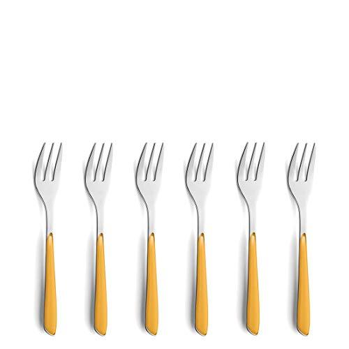 Kuppels 2294YMBS01AN6 Juego de tenedores de postre, Acero Inoxidable, amarillo mostaza