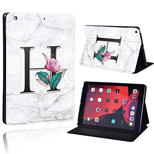 Printed 26 Letters PU Leather Smart Tablet Folio Stand Shockproof Cover Case for iPad Mini 1/2/3/4/5,Letter H on White,iPad Mini 4 5