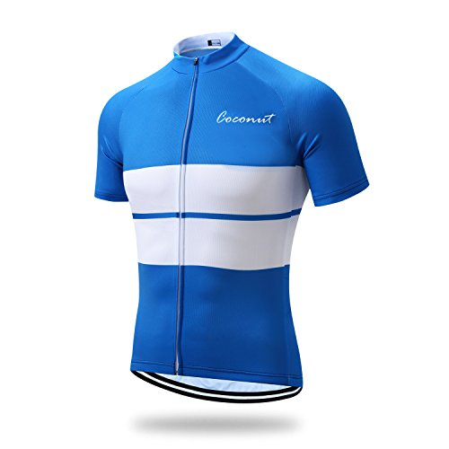 Coconut Men's Cycling Jersey Short Sleeve Road Bike Biking Shirt Bicycle Clothes (Blue/White, S)