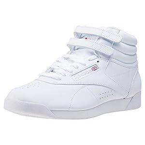Reebok Women Freestyle Hi Sneaker, White/Silver 2, 7.5