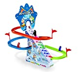 Haktoys Arctic Fun Playful Penguin Race Set with Flashing Lights & Music On/Off Button for Quiet Play, Jolly Penguin Slide Playset