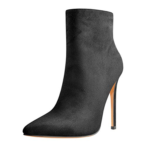 Only maker Damen Spitz Stiefeletten Stiletto Ankle Boots Pointed Toe Veloursoptik Schwarz 39 EU