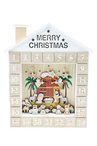 Clever Creations - Calendario de Adviento - Belén con niño Jesús y los 3 Reyes Magos - Madera Robusta - 28,6 x 5,1 x 38,1 cm