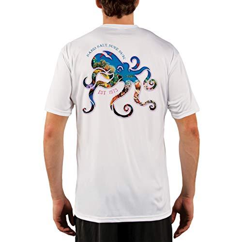 SAND.SALT.SURF.SUN. Coral Octopus Men's UPF 50+ UV Sun Protection Performance Short Sleeve T-Shirt X-Large White