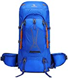 CAMEL CROWN 45L Hiking Backpack Large Lightweight Backpacks Internal Frame Backpacking for Picnic Ski Trave (Blue)