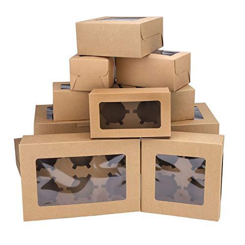 12er Pack Keksdosen Geschenkboxen mit Fenster, kleine Kuchenboxen Backschachteln Leckerbissenboxen Cupcake-Boxen Geschenkverpackungsboxen für Urlaubsdessert Gebäck Kekse Praline (Brown)