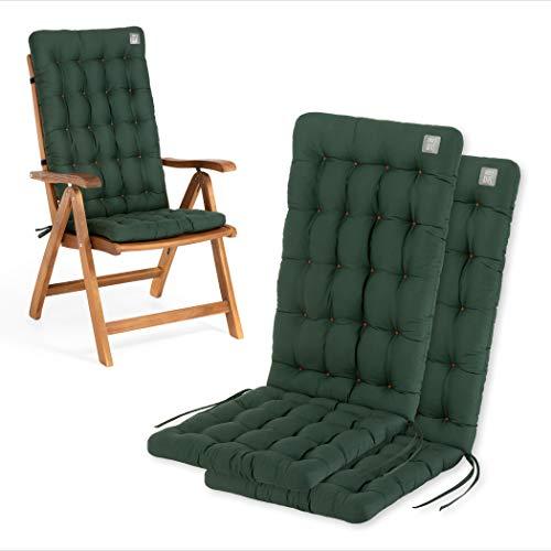 HAVE A SEAT Luxury | Gartenstuhlauflagen - Bequeme Hochlehner Polster Auflage, waschbar bei 95°C, Trockner geeignet, Sitzauflage für Gartenstuhl (2er Set - 120x48x8 cm, Moosgrün)