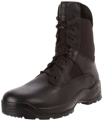 5.11 Tactical Men's Full-Grain Leather Combat Military Boots w/Side Zipper, Black, 44.5 EU, Style 12001
