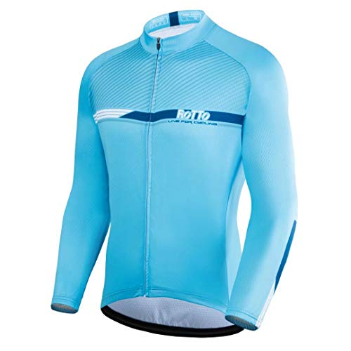 ROTTO Maillot Ciclismo Hombre Camiseta Ciclismo Manga Larga con Bolsillo