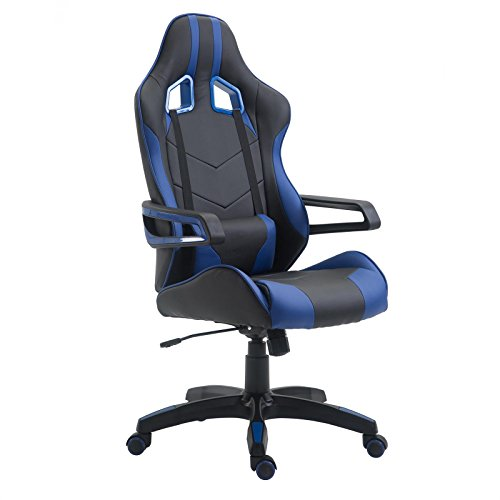 CARO-Möbel Gaming Drehstuhl Play Lederimitat in schwarz/blau Bürostuhl PC Schreibtischstuhl Chefsessel Racer, höhenverstellbar Wippmechanik