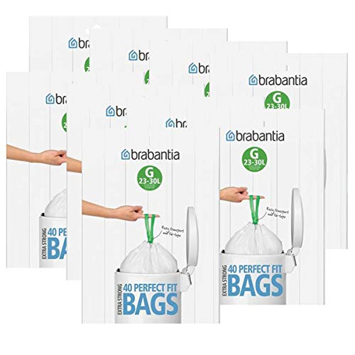 Brabantia Müllbeutel Spenderverpackung (G) 23-30 Liter, 40 Mülltüten - Einfach zu verschließen - mit integriertem Zugband - Passgenau auf Brabantia Abfallbehälter zugeschnitten (9er Pack)