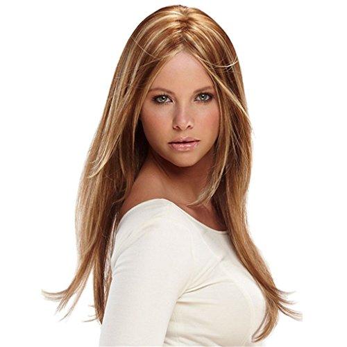 Longlove Long Perruque de cheveux raides femelle personnage de dessin animé Cheveux Halloween mascarade jouer Jeu Big Wave Perruque