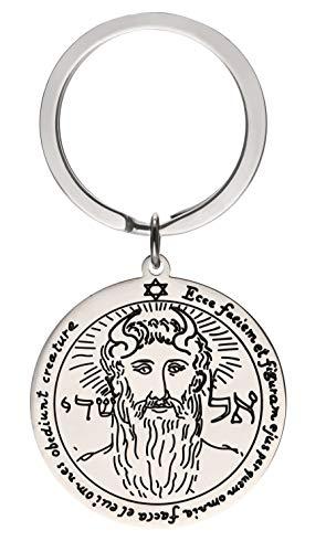 TEAMER Llavero de acero inoxidable con grabado redondo de plata con amuleto de Wiccan, llavero unisex para hombres y mujeres