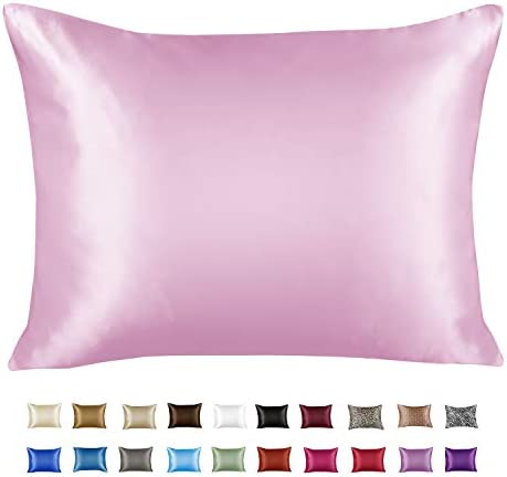 Luxury Satin Pillowcase for Hair Queen Satin Pillowcase with Zipper Pink 1 per Pack Blissford product image