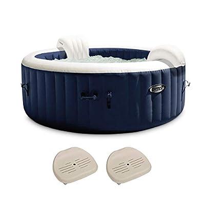 Intex PureSpa Plus 6 Person Inflatable Hot Tub Bubble Jet Spa w/ 2 Seats, Navy
