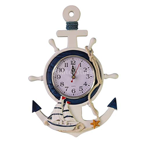 LEV Wall Clocks - White Nautical Anchor Ship's Steering Wheel Hanging Clock Starfish/Fishing Net Home Room Decor - by 1 PCS