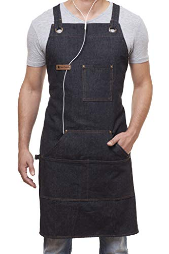 Denim Apron for Chef Kitchen BBQ Grill Black Towel Loop  Quick Release Buckle  Tool Pockets Adjustable M to XXL