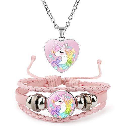 Unicornio Pulsera del Collar De Niñas con El Conjunto - Unicornio Pulsera Cuero y Collar Joyería Niña Regalo de Cumpleaños de Fiesta 2 Piezas