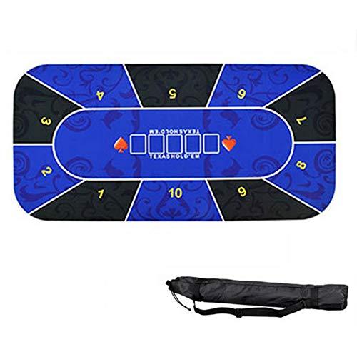 KUANDARM Tragbare Texas Hold'em Matte Mit Schwarzer Aufbewahrungstasche Gummi Poker Tischplatte Layout wasserdichte Spielmatte, Blue, 120 * 60cm
