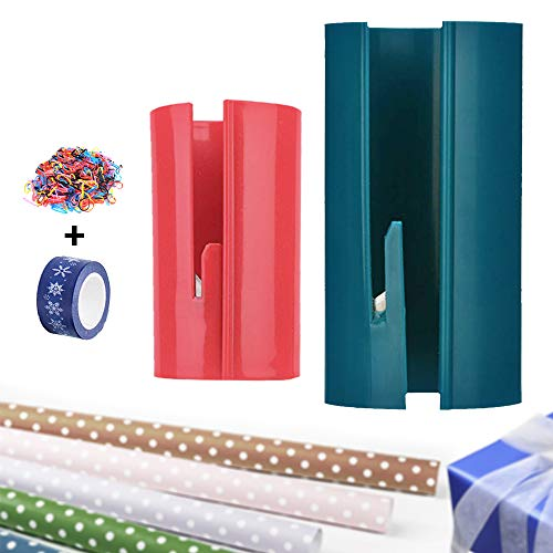 Wrapping Paper Cutter, Paper Roll Sliding Line Cutter for Parties & Birthdays, Easy Quick, Creative Sliding Paper Roll Cutter, One Small One Large Size, Bonus Sticking Tape and Colorful Rubber Bands