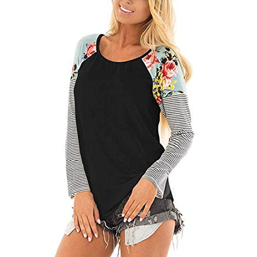 Womens Long Sleeve T Shirts Round Neck Sweatshirts Color Matching Stripe Flowers top Outdoor Sport Casual Daily Wear Spring, Summer and Autumn New Comfortable Fashion t Shirt XL