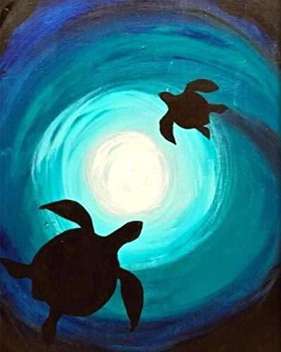 BSZHCT Malen Nach Zahlen für Erwachsene und Kinder- Schildkröte im Whirlpool DIY Ölgemälde-Vorgedruckt Leinwand-Ölgemälde Geschenk Home Haus Dekor 40x50 cm (ohne Rahmen)