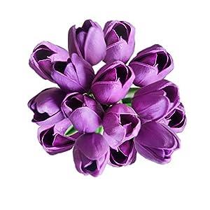 Silk Flower Arrangements 20 Heads Dark Purple PU Artificial Tulip Flower Bouquet Real Touch Flowers Fake Tulips Wedding Flowers Arrangement Home Room Wedding Party Decor