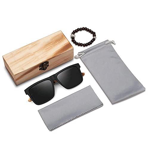 andisi Sonnenbrille Personalisiert Gravierte Männer Polarisierte Holz Sonnenbrille Personalisierte Design Frauen Sonnenbrille Holz Rahmen Gläser Groomsmen Geschenk (Schwarz)