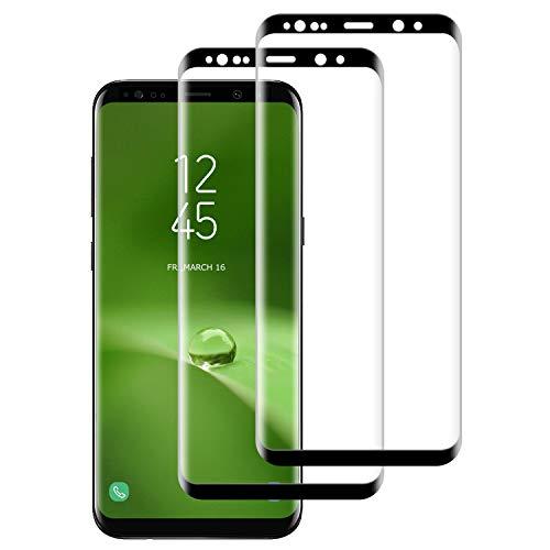 DASFOND Protector Pantalla para Samsung Galaxy S9+/S9 Plus, [2 Piezas] Cristal Templado Galaxy S9 Plus,[3D Cobertura Completa] [9H Dureza] [Sin Burbujas],HD Transparente Resistente Arañazos- Negro