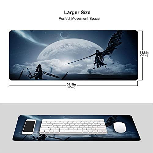 Final Fantasy Anime Mouse Pad 11.8x31.5 Inch Large Non-Slip Gaming Mouse Pad Rubber Stitched Edges Desk Mat for Office Home & Gamer Photo #5