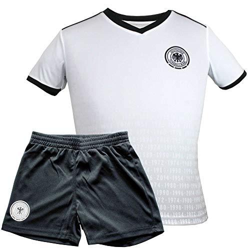 MC Trend Original DFB Fußball Kinder-Trikot-Set • Alle EM/WM Titel • Trikot & Hose Deutschland Nationalmannschaft Weltmeister (140)