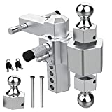 Sulythw Trailer Hitch 3 Dual Towing Ball Mount Forged Aluminum Shank Heavy Duty for 2' Receiver (25,000lbs Rating) 6' Drop, 8' Rise Adjustable, 1-7/8'', 2' and 2-5/16' Balls with Double Pin Key Locks