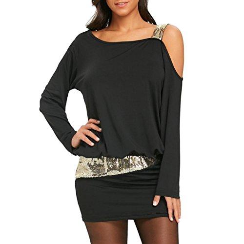 OVERDOSE Damen Mode Frauen trägerlosen kalten Schulter Pailletten Bling Mini Blusenkleid Party Minikleid Abendkleid(A-Black,S)