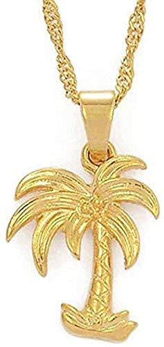 Collar con colgante de árbol de coco, collares para s, Color dorado, joyería de estilo oceánico, cadena de ondas de agua, regalos