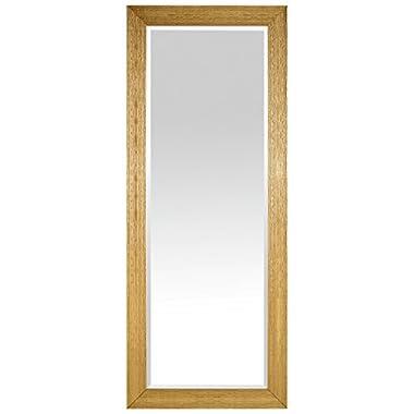Stone & Beam Classic Rectangular Flat Frame Mirror, 80  H, Gold Finish