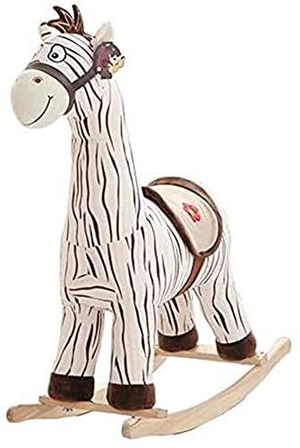 Caballo Mecedora Ride-On Rocking Horse Kid Rocking Silla Animal Peluche Madera Interior Asiento Sofá Máximo Carro 80kg Gran Cumpleaños 70x55x70cm HAODAMAI (Color : A)