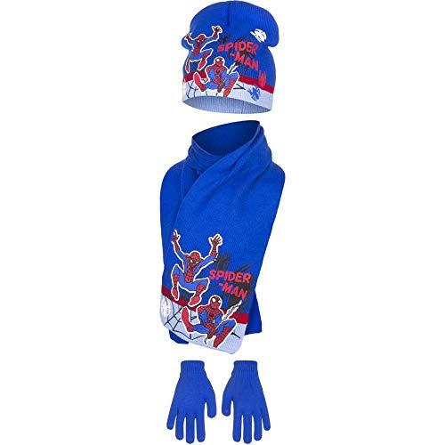 Marvel Spiderman Kids Winter Hut Schal und Handschuhe Set (54 cm, Blau)