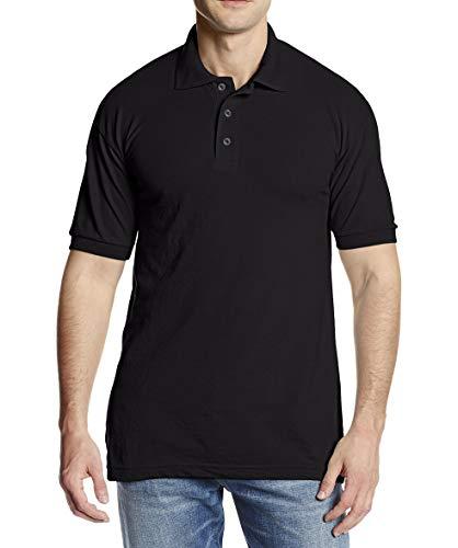 Dickies Men's Short Sleeve Pique Polo, Black, Large