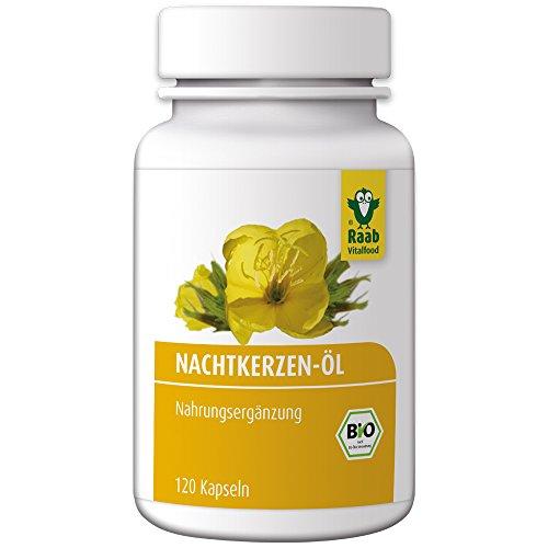 Raab Vitalfood Bio Nachtkerzenöl-Kapseln, 120 Stück, Nahrungsergänzungsmittel mit Gamma-Linolensäure und Linolsäure, glutenfrei, mit Vitamin E, 89 g